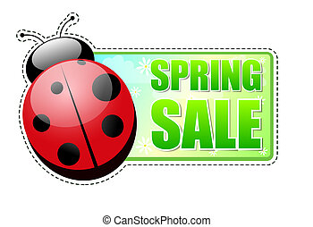 spring sale green label with ladybird