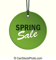 spring sale green round hanging label isolated on white background