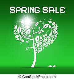 Spring Sale Green Vector Illustration with Heart Shaped Tree and Sun