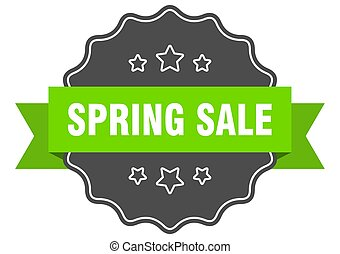 spring sale isolated seal. spring sale green label. spring sale