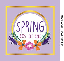spring sale, lettering offer flowers border decoration