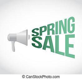 spring sale megaphone message at loud. concept illustration...