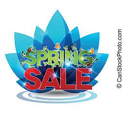 Spring sale message on a blue flower