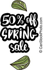 Spring sale offer with hand drawn calligraphy.