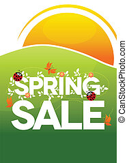Spring sale poster. Beautiful colorful illustration with flowers, ladybugs and butterflies. Bold and bright