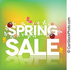 Spring sale poster design Beautiful colorful illustration,...