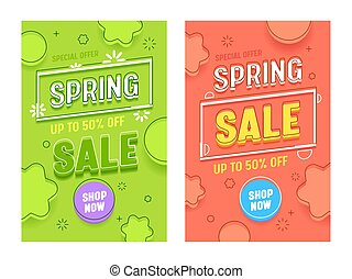 Spring Sale Red Green Vertical Banner Set. Promotion Discount Hot Price Typography Poster Collection. Retail Season Final Offer Poster with Shop Now Button Design Flat Vector Illustration