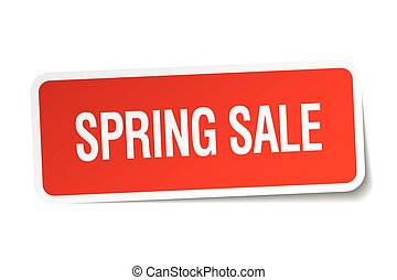 spring sale red square sticker isolated on white