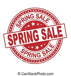 Spring sale red vintage stamp isolated on white background