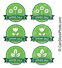 Spring sale retro green round label