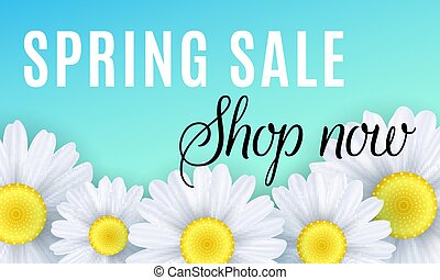 Spring sale. Seasonal shopping. Advertising web banner. Chamomile flowers on a blue background. Vector illustration