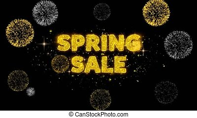 Spring sale Text Reveal on Glitter Golden Particles Firework. Sale, Discount Price, Off Deals, Offer promotion offer percent discount ads 4K Loop Animation.