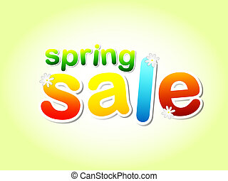 spring sale text with flowers