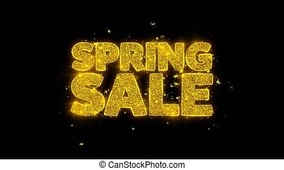 Spring Sale Typography Written with Golden Particles Sparks Fireworks