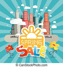 Spring Sale Vector Illustration with City and Flowers in Retro Style