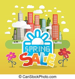 Spring Sale Vector Illustration with Flowers and City on Green Background