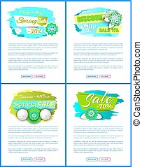 Spring Sale Web Posters with Promo Tags Vector