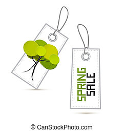 Spring Sale White Labels with Tree Isolated on White Background