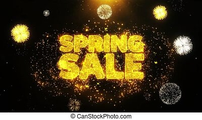 Spring Sale Wishes Greetings card, Invitation, Celebration Firework Looped