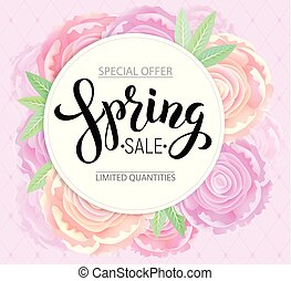 Spring sale with background pink peonies
