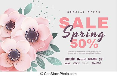 Spring sale with beautiful flowers. Vector illustration template.