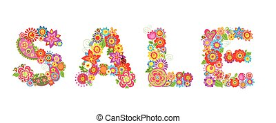 Spring sale with flowers letter