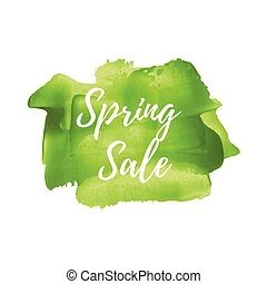 Spring Sale words, logo, card, poster, text, written on painted yellow background