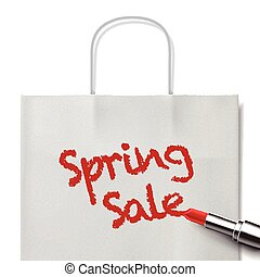 spring sale words written by red lipstick