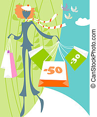 A young girl has acquired a lot of good products at discounted prices