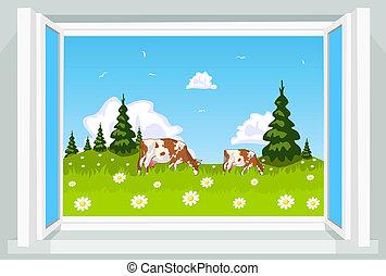 Spring scene through opened window, illustration