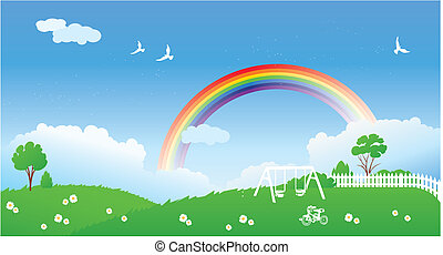 Spring scene with rainbow - An illustration of spring scene...