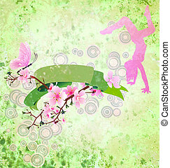 spring scroll with sakura blossom, butterfly, dancing girl and green decor