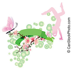 spring scroll with sakura blossom, butterfly, dancing girl and green decor vector