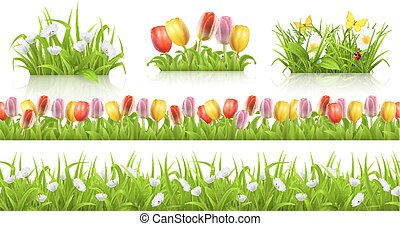 Spring seamless pattern, grass and flowers 3d vector set