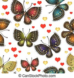 Spring seamless pattern with bright butterflies