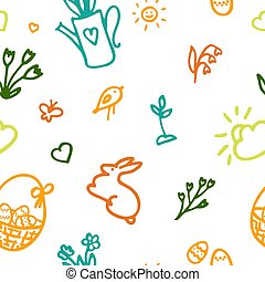 Spring seamless pattern with doodle elements. Hand drawn icon bird, umbrella, birdhouse, flowerpot, rubberboot, su, easter egg, flower, rain cloud, butterfly.