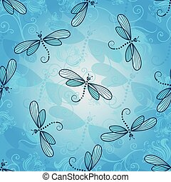 Spring seamless pattern with dragonflies