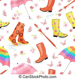 spring seamless texture with lovely female rubber boots, umbrell
