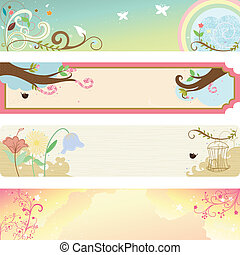 Spring season banner - A vector illustration of collection ...