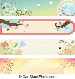 Spring season banner - A vector illustration of collection ...