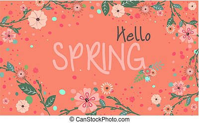 Spring Season Banner with Flowers and Spring Colors