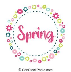 Spring season cute floral round frame