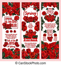 Spring season floral banner with red rose flower