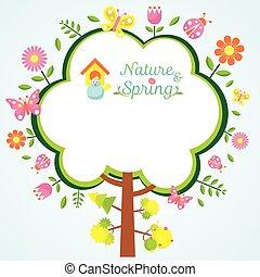 Spring Season Icons with Tree Frame