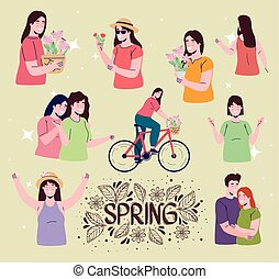spring season lettering card with people characters