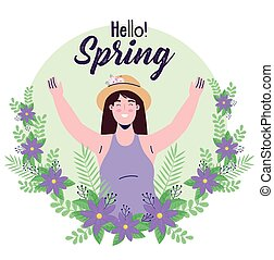 spring season lettering card with woman in floral wreath