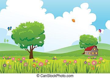 Spring season nature landscape - A vector illustration of...