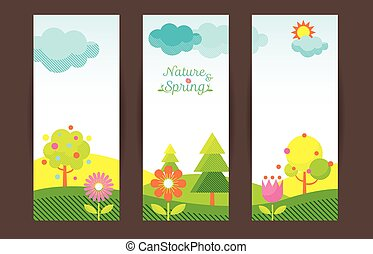 Spring Season Object Icons Backdrop
