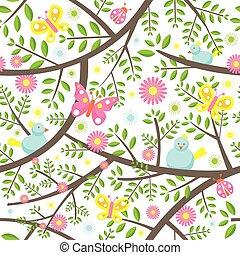 Spring Season Seamless Pattern