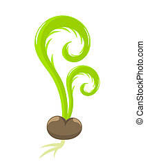 Seedling growing from the seed. Spring vector illustration